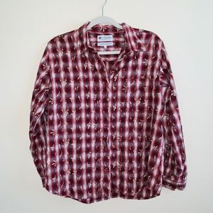 Columbia Maroon Plaid Button Down w/ Wheat Graphic